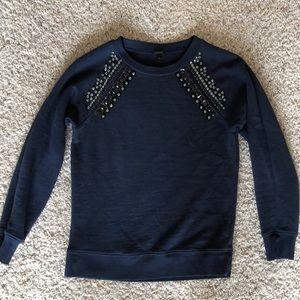 Navy sweater with black beading